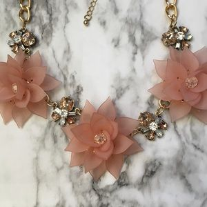 Pink flower necklace statement chunky gold NWOT
